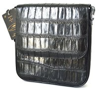 Crocodile Skin Belly Messenger Shoulder Bag
