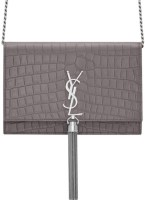 Saint Laurent Chain Wallet Crocodile Bag Embossed Grey Leather Cross Body