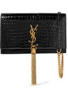 Saint Laurent Kate Tassel Crocodile Bag Embossed Leather Cross Body