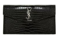Saint Laurent Shiny Crocodile Bag Embossed Purse Black Leather Clutch