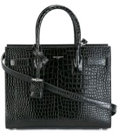 Saint Laurent Embossed Crocodile Shiny Black Leather Tote Bag