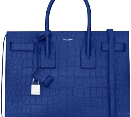 Saint Laurent Crocodile Bag Embossed Tote Blue Leather Satchel
