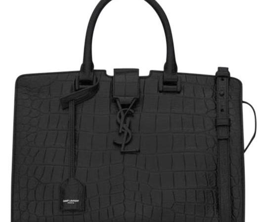 Saint Laurent Small Calf Crocodile Black Calfskin Bag