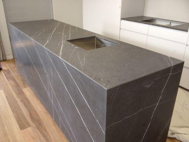 Pietra Grey Marble Limestone Installed Crocodile Rocks
