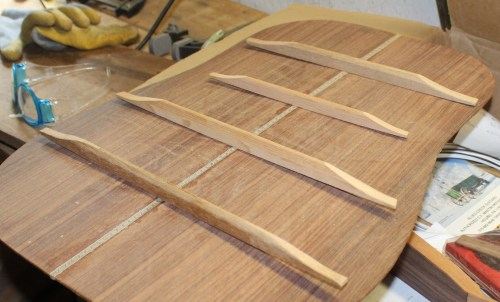 small resolution of here are the four back braces the farthest and nearest are the homemade mahogany braces
