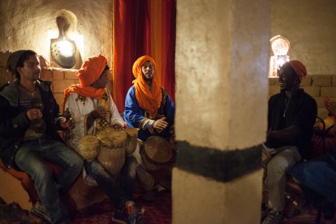 Singing and dancing at the kasbah after dinner