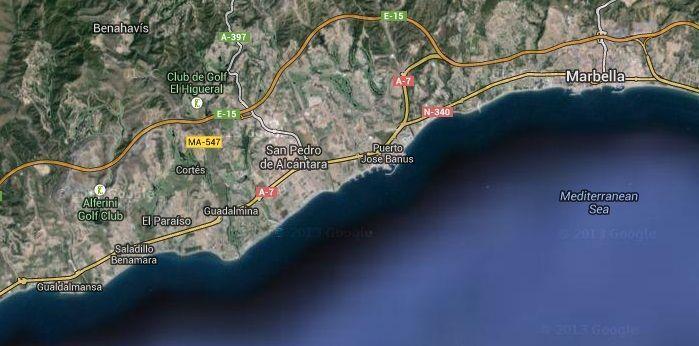 Imagen satélite de la Costa del Sol (Franja Litoral de Marbella)