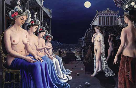 Paul Delvaux, Las Sirenas, 1979, Metropolitan Museum of New York.