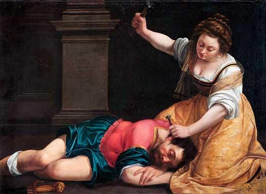 Artemisia Gentilleschi, Yael y Sisara, 1620, Museo de Bellas Artes de Budapest.