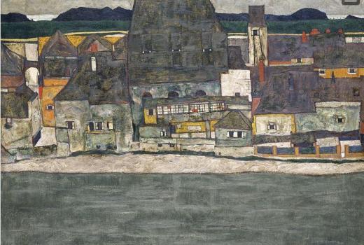 Egon Schiele, Casas junto al río. La ciudad vieja, 1914, Museo Thyssen-Bornemisza, Madrid.