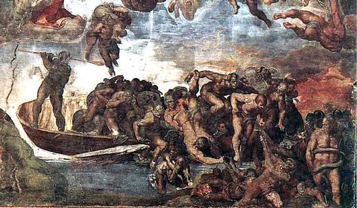 Miguel Ángel, El Juicio Final (detalle en el que se representa a Caronte), 1537-41, Capilla Sixtina.