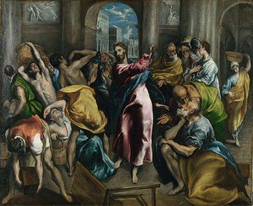 El Greco, La expulsión de los mercaderes del templo, c. 1600, National Gallery, Londres.
