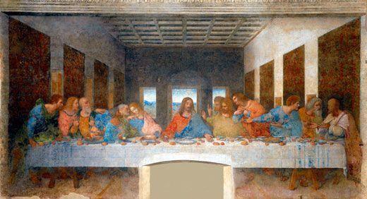 Leonardo da Vinci, La última cena, 1495-1498, iglesia de Santa María delle Grazie, Milán.