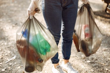 Natural refuse sacks full of waste from a litter pick - Cromwell