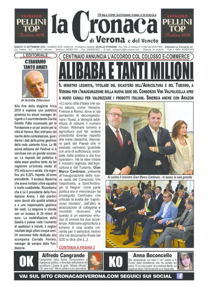 thumbnail of La Cronaca di Verona 15 9 2018