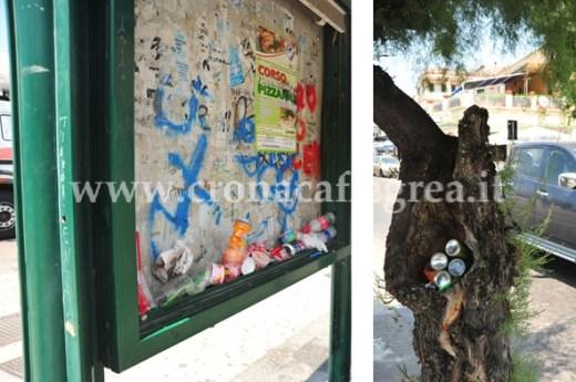 Sia la ensilina della fermata degli autobus sia un albero sono diventati due nuovi cestini per i rifiuti