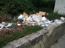 Sacchetti d'immondizia e rifiuti di ogni genere in via Viviani