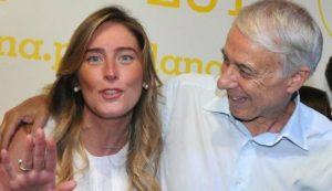 L'abbraccio diGiuliano Pisapia a Maria Elena Boschi