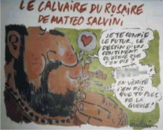 Charlie Hebdo sfotte Salvini col rosario facendo bestemmiare Gesù