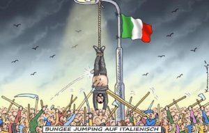 Salvini appeso a testa in giù come Mussolini: vignetta di un giornale tedesco