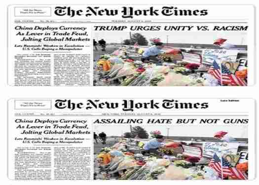 New York Times costretto dai lettori a ribattere titolo su Trump e le stragi
