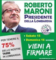 """Ossona, 15 e 16 dicembre: """"Maroni Presidente"""" ai gazebo della Lega Nord"""