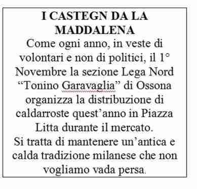Ossona, 1 novembre: I castegn da la Maddalena