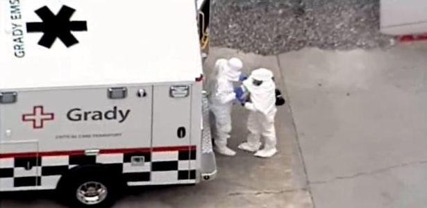Arrivo di Kent Brantly, infettato da Ebola, ad Atlanta ( Usa )