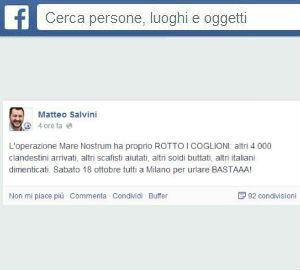 Mare Nostrum ha rotto i coglioni: altri 4mila arrivi (Matteo Salvini)