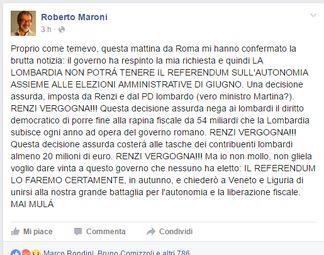 robertomaroni Renzi Vergogna, ma Referendum Lombardia in autunno Politica Prima Pagina