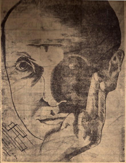 Aguafuerte de José Refugio Sandoval, poeta y dibujante sanluisino, que ilustró la primera portada de la Revista Azul, aparecida el 11 de abril de 1954 entre las páginas de La Voz de San Luis. Fotografía: Colección particular de Omar de la Cadena.