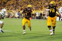 """Arizona State running back De'Chavon """"Gump"""" Hayes takes the carry. (Photo: Scotty Bara/WCSN)"""