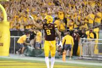 Arizona State wide receiver D.J. Foster celebrates after scoring the first touchdown of the game for ASU. (Photo: Scotty Bara/WCSN)