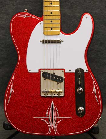 7 Way Wiring Guitar Red Sparkle T Style Pinstriped Crook Custom Guitars