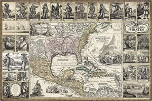The Golden Age of Pirates - Historic Art Map Poster