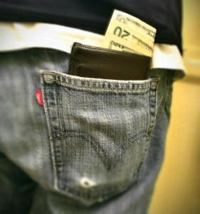 exposed wallet in jeans