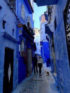 Blue alley in Chefchaouen Morocco