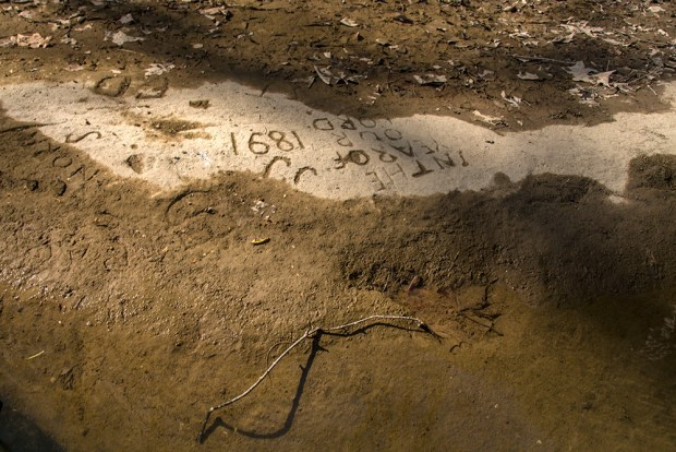 Local lore tells of a river packet boat carrying a family ran aground here during a low-water summer in the 1880s, where they stayed for three months, until the river level came up enough to continue their trip south toward Pittsburgh. They left behind a picture of their boat carved into the rock.