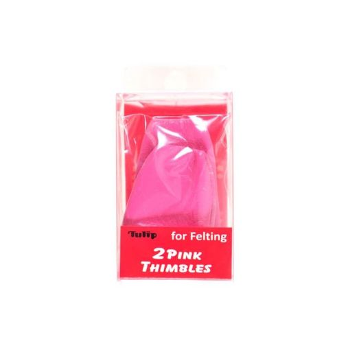 pacl of two pink leather Tulip felting thimbles