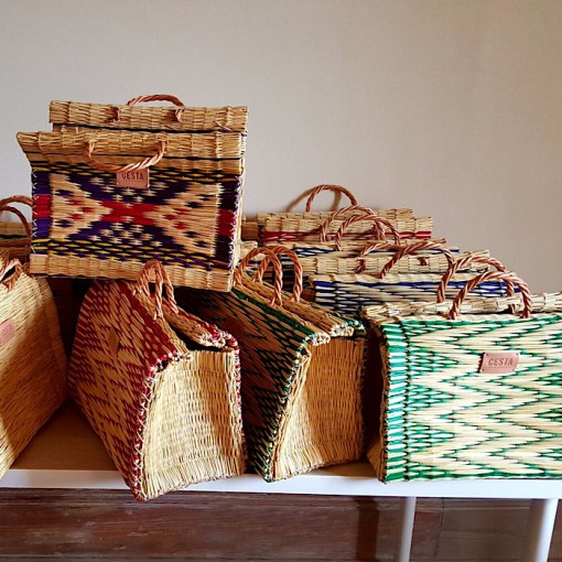 CESTA reed project baskets stacked on table