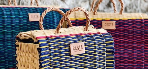 close up of 3 CESTA reed project basket