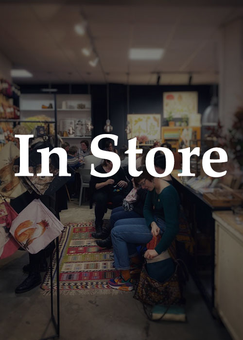 In store text with people in the background