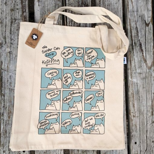 An Caitín Beag – Sinister Cats Love Knitting Tote Bag