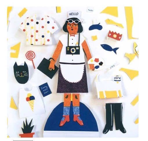 The Printed Peanut cut out paper doll made up