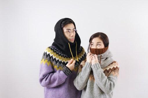 2 people modeling knitwear Moon and Turtle - Kiyomi & Sachiko Burgin