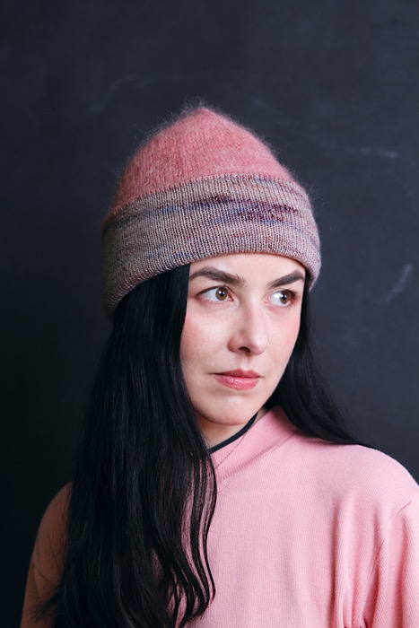woman modeling hat Moon and Turtle - Kiyomi & Sachiko Burgin