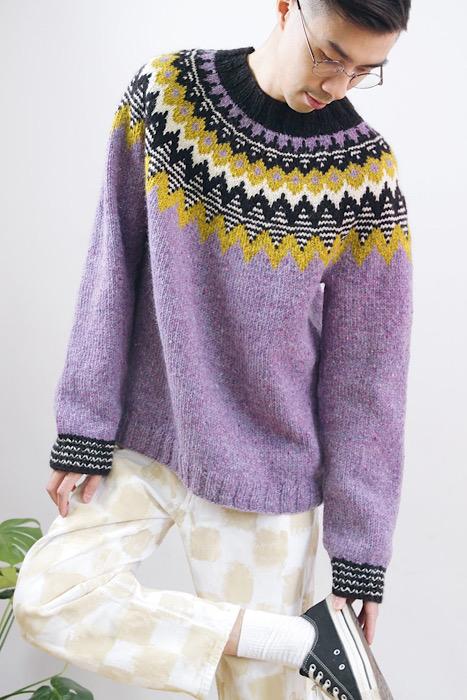 modeling sweater Moon and Turtle - Kiyomi & Sachiko Burgin