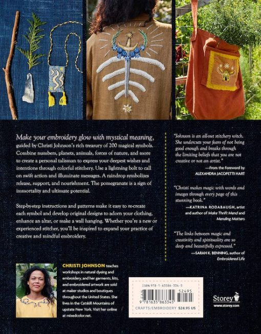 back cover Mystical Stitches: Embroidery for Personal Empowerment and Magical Embellishment - Christi Johnson