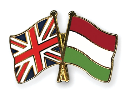 Crossed hungarian and union jack flags pin