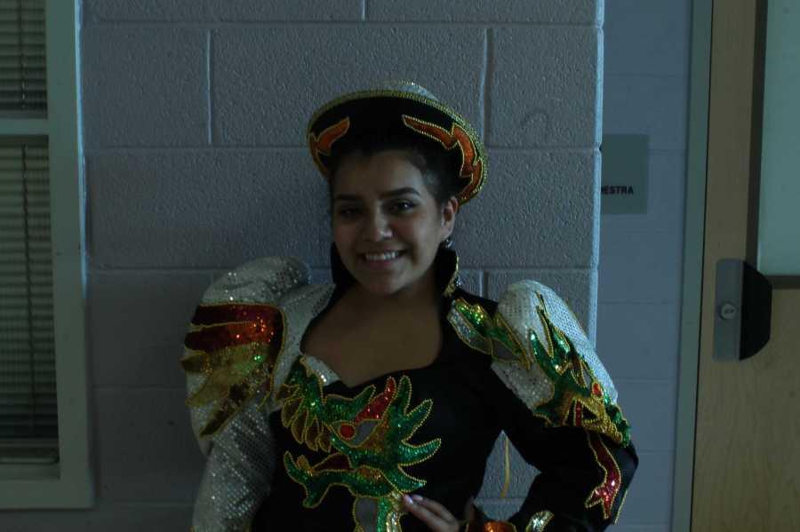 Junior+Karen+Torrico+prepares+for+a+traditional+Bolivian+dance.+